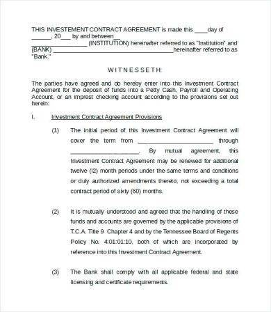new business investment agreement template