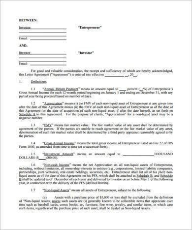 new small business investment contract template