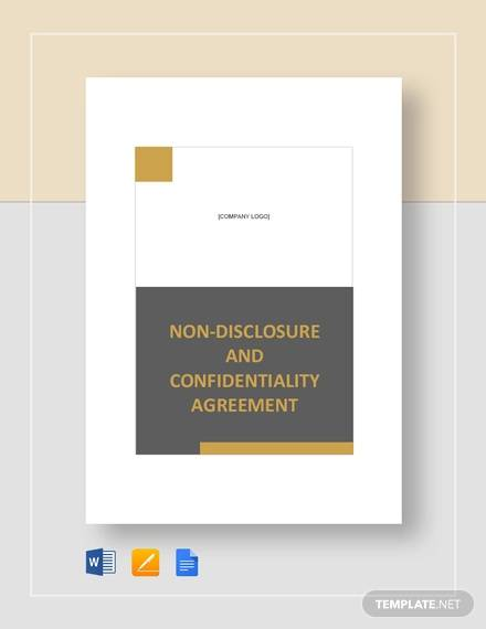 non disclosure and confidentiality agreement template