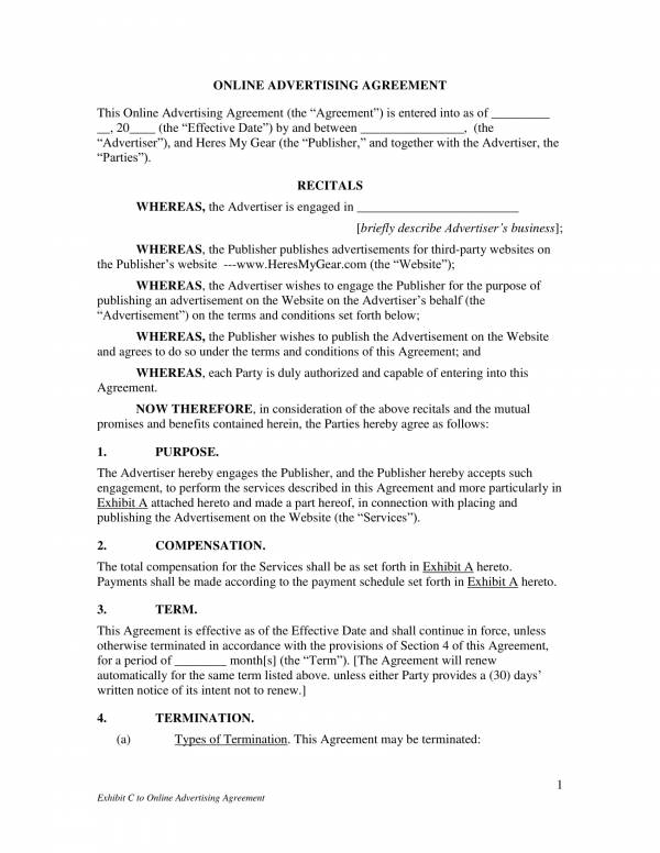 online advertising agreement contract template 01