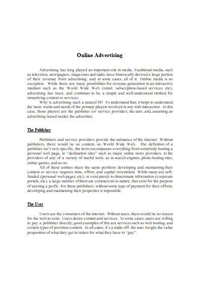 online advertising contract in ms word