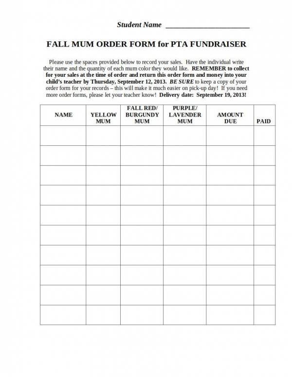 pta fundraiser order template