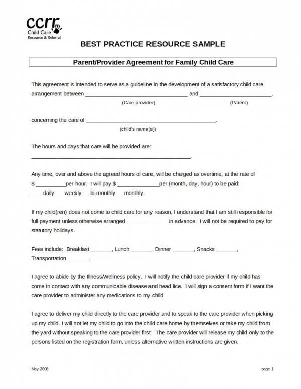 parent provider agreement template