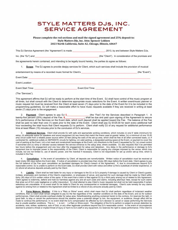 printable dj service contract template 1