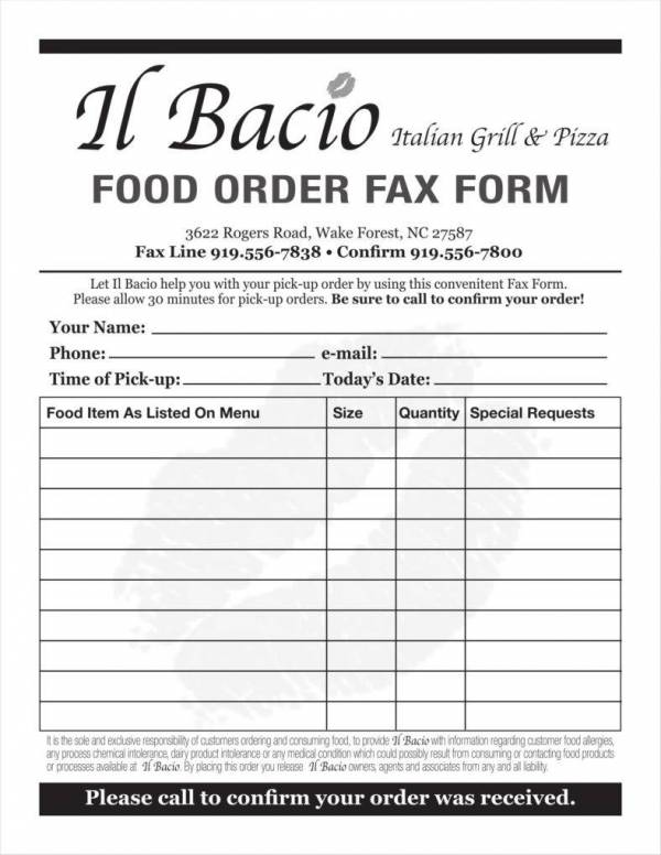 printable food order template