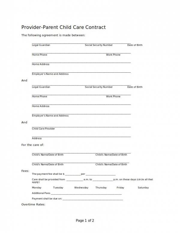 provider parent child care services agreement template
