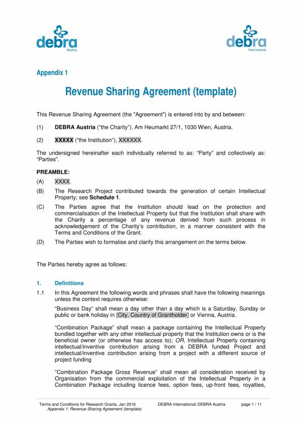 revenue sharing agreement template 01