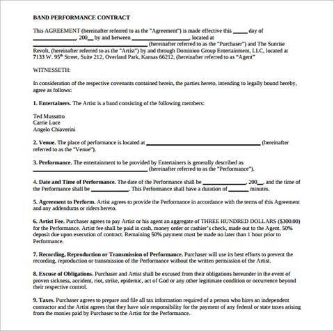 sample band performance contract template