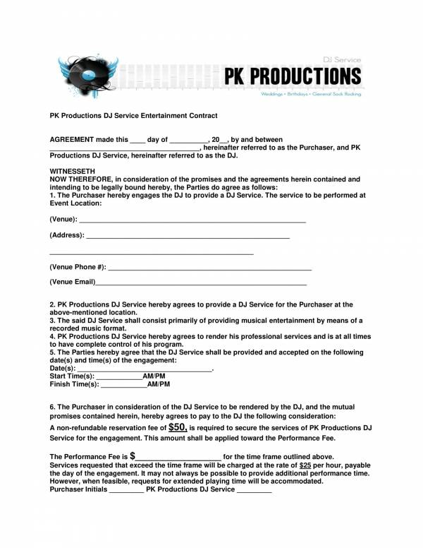 sample dj service entertainment contract template 1