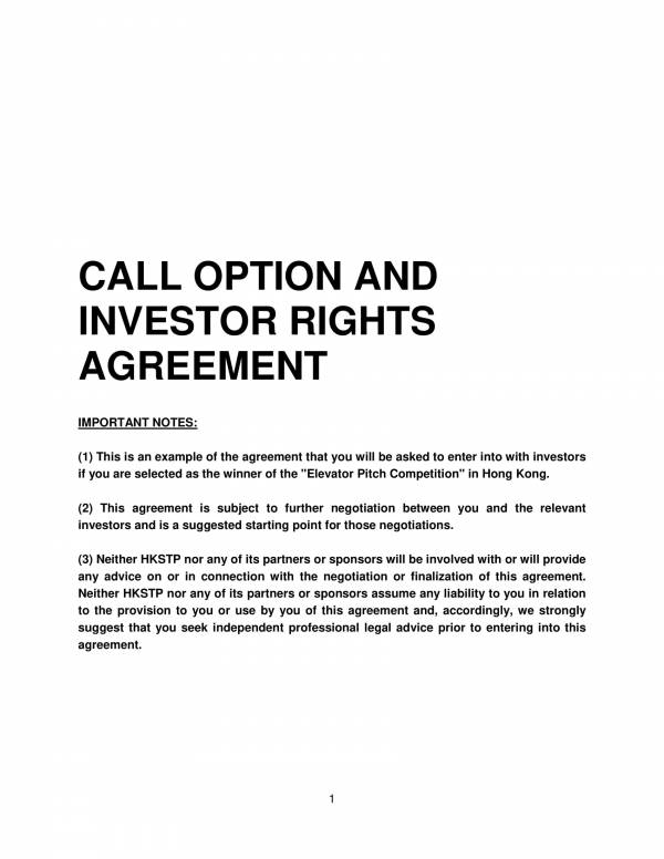 sample investor rights agreement contract 01