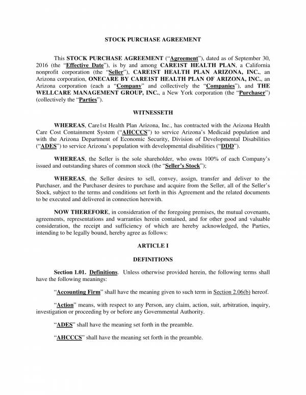 sample stock purchase agreement template 01