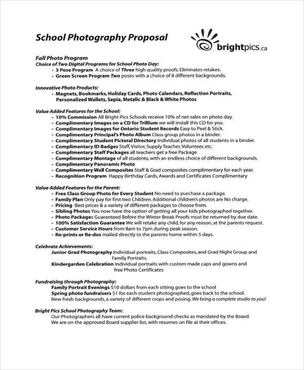 school photography proposal template