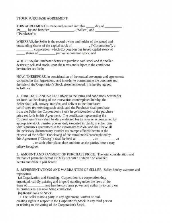 10 Stock Purchase Agreement Template Pdf Word