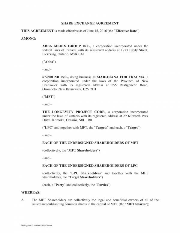 share exchange agreement template 01