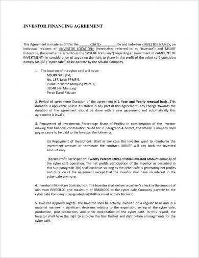 small business investor financing agreement contract