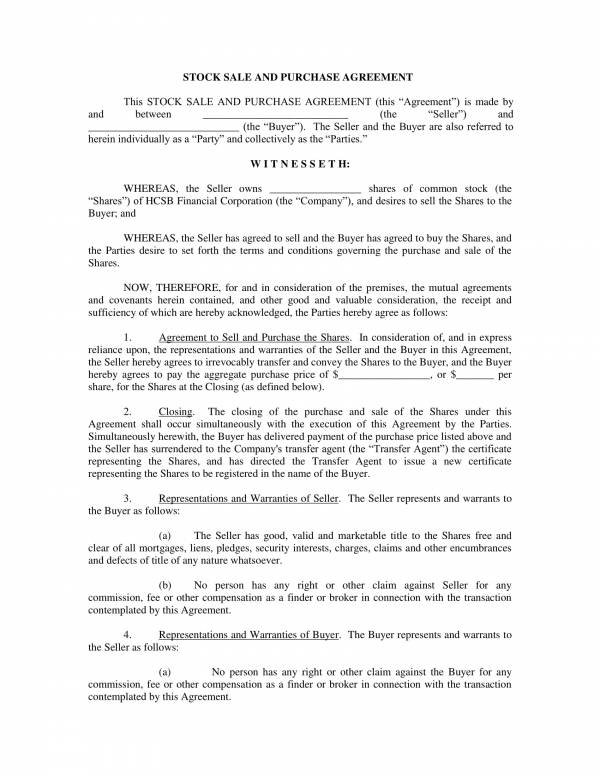 stock sale and purchase agreement template 1