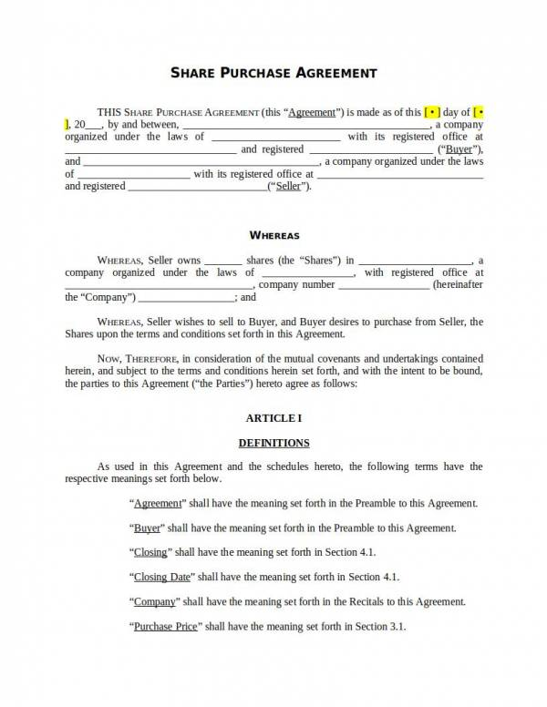 stock share purchase agreement template