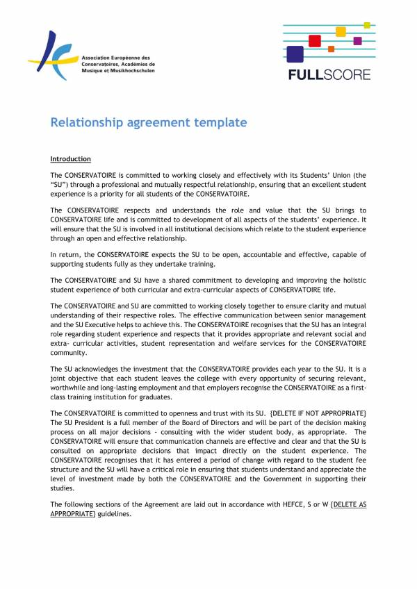 student relationship agreement template 1