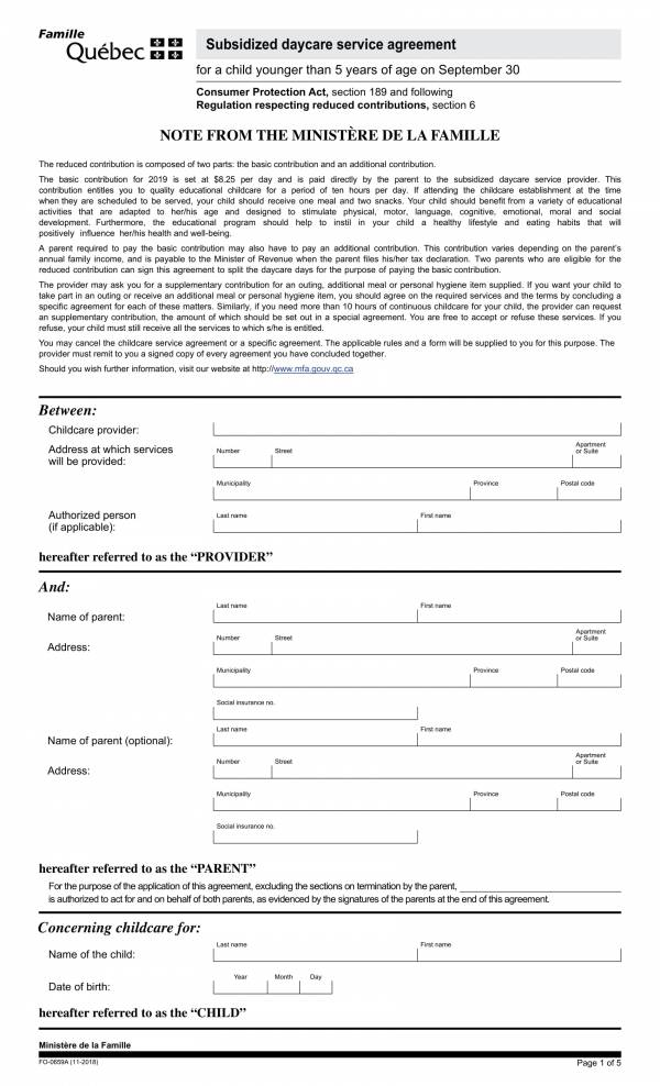 subsidized child care services agreement template 3