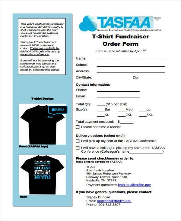 t shirt fundraiser order template