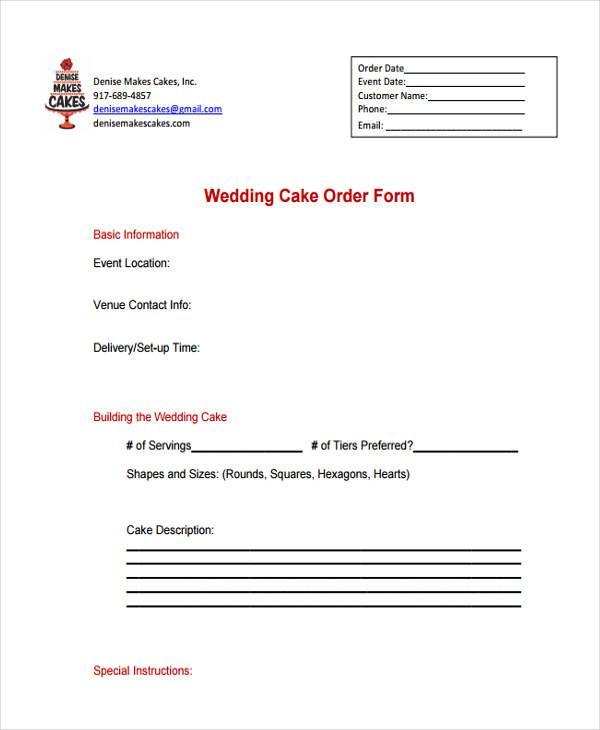 wedding cake order template