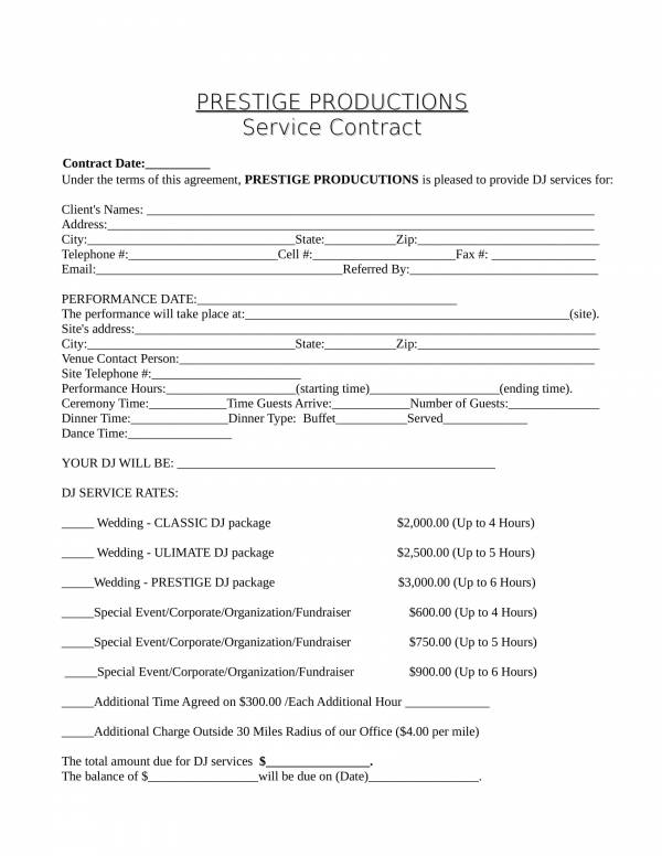 wedding planner dj services contract template 1