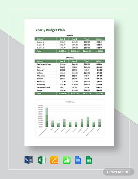 free 9  yearly budget samples in google docs