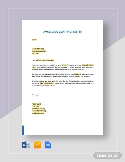awarding contract
