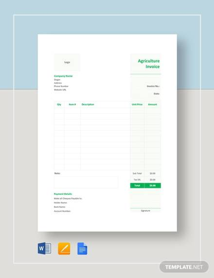 agriculture invoice template