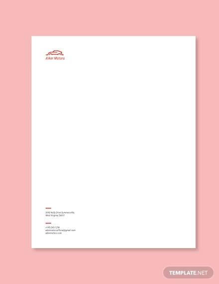 auto dealers letterhead template