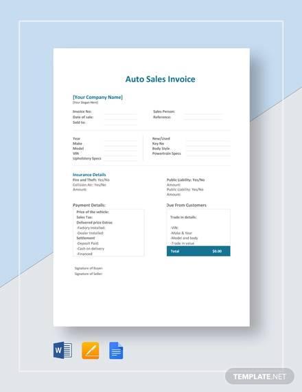 auto sales invoice template