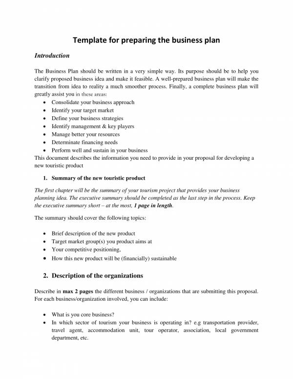 business plan template for tourism 1