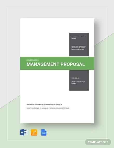 construction management proposal template