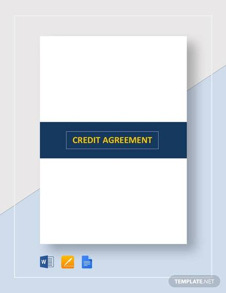 credit agreement sample template