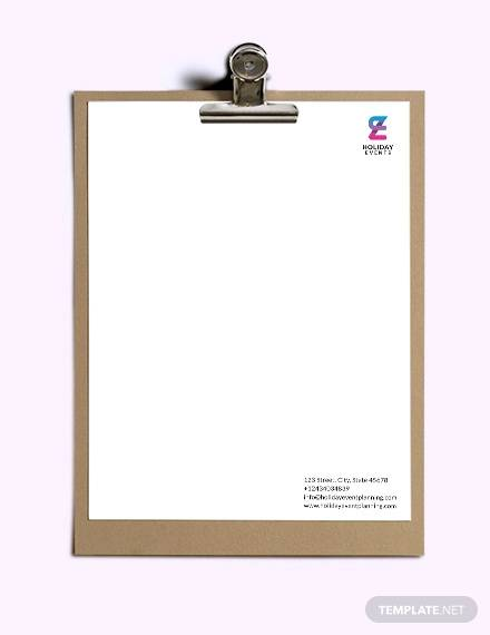 event planner letterhead template