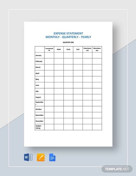 expense statement monthly quarterly yearly template