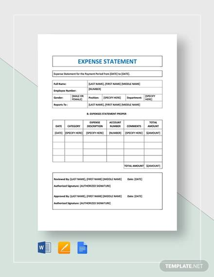 expense statement template