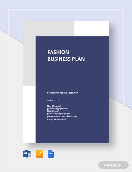 fashion business plan template