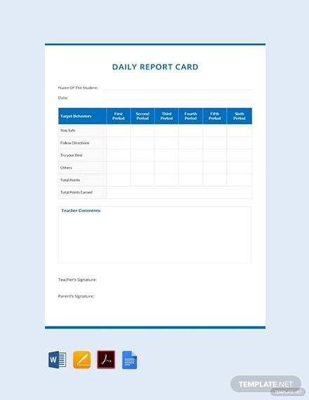 free daily report card example template