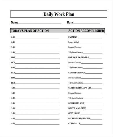 free daily work plan template
