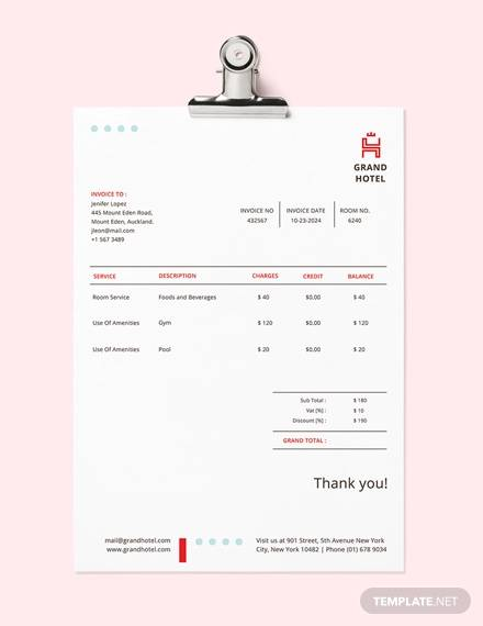 free 9  sample hotel invoices in pdf