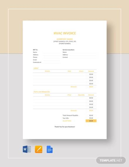 hvac invoice template