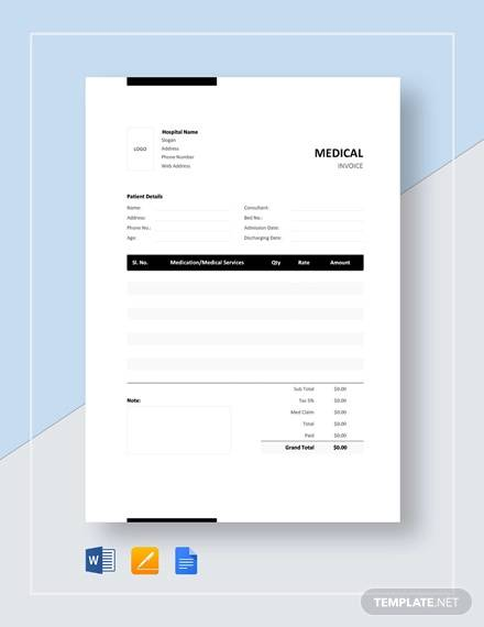 medical bill format template