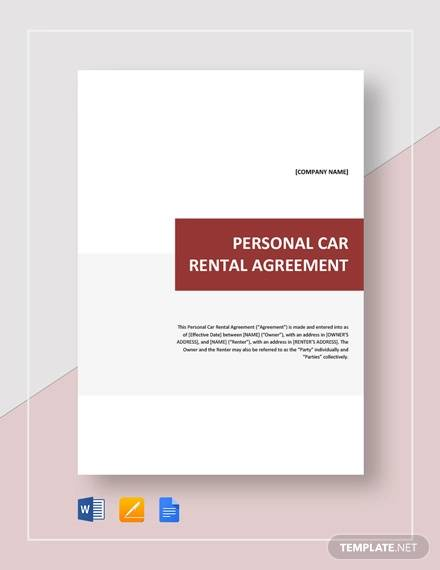 Sample Car Rental Agreement 12 Documents In Pdf Word