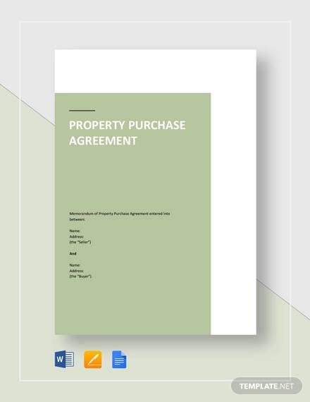 property purchase agreement sample template