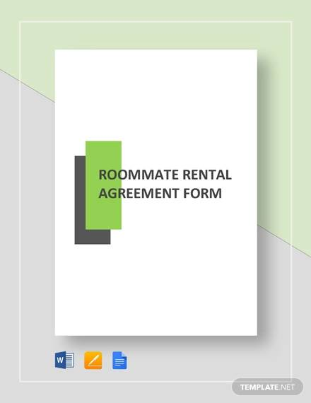 roommate rental agreement form template
