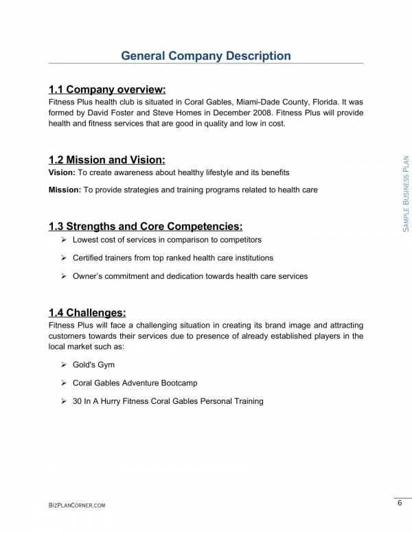 sample health club business plan template 06