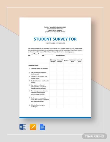 sample student survey template