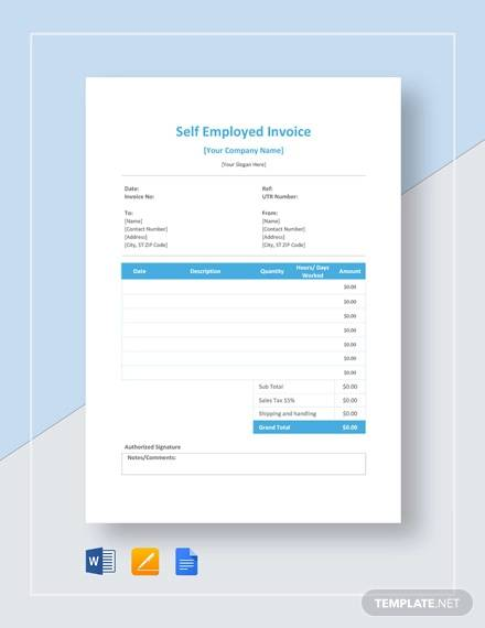 Free 10 Self Employed Invoice Samples Templates In Pdf Word