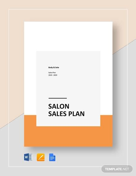 spa salon sales plan template